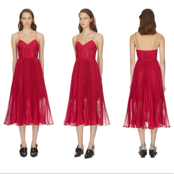 d2a879e2702c Self-Portrait Dresses | Selfportrait Fuchsia Pleated Chiffon Midi ...